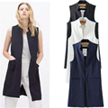 European Summer Style  New Arrival Three Colors Women Casual Long Polyester Vests Gilet Sleeveless Jacket A755
