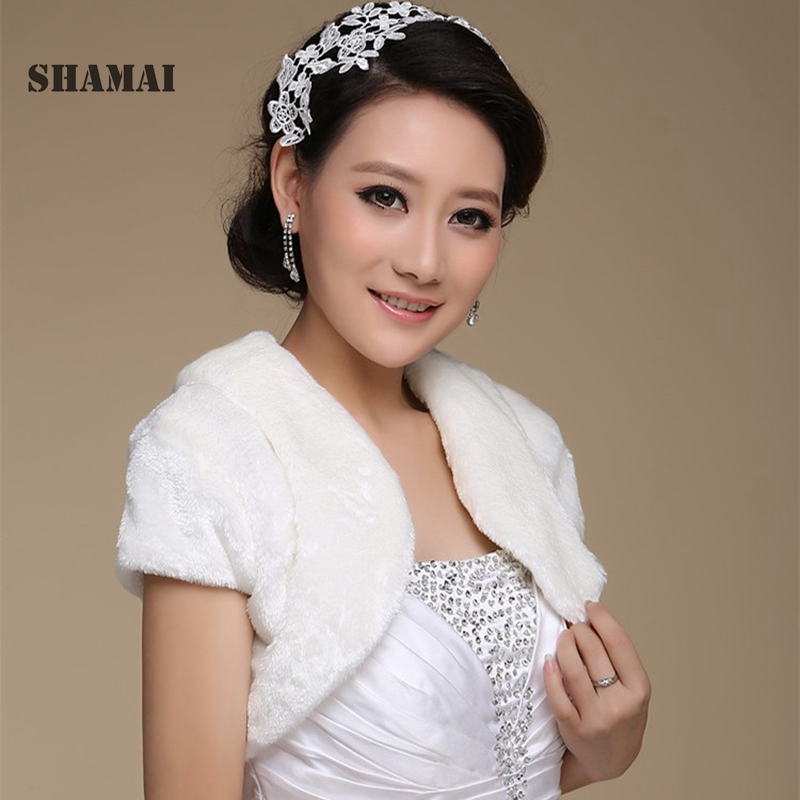 SHAMAI Short Sleeve Bridal Jacket Warm Faux Fur Women Wedding Party Wrap Boleros Bridal Jackets Evening Coat