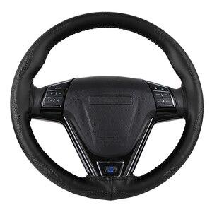 Image 3 - Tampa para volante de carro em couro genuíno, padrão de pele de cobra envoltório volante de carro trança com agulha e rosca