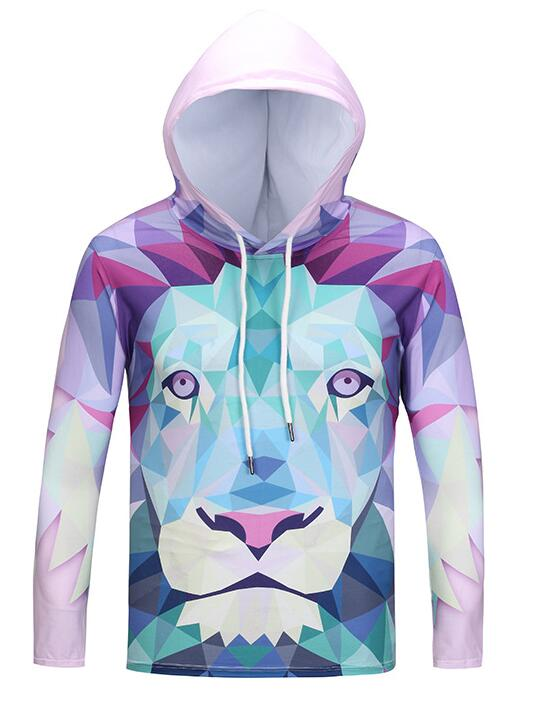2018 3D Printed Lion Women/Men Sweatshirt Hoodies with Hat Color Straight Hoodies Warm Digital Harajuku Hoodies for Unisex New