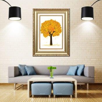 Artcozy Golden Frame Abstract drzewo roznych porach roku Waterproof Canvas Painting