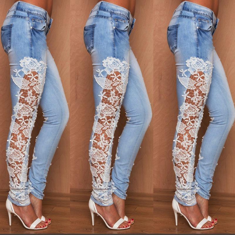 2017 Plus Size Fashion High Waist Jeans Hollow Out Lace Floral Side Stitching Stretchable Denim Slim Pencil Women Jeans