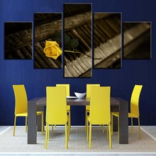 Modular HD Prints Canvas Painting Home Decor Piano 5 Pieces Wall Art Yellow Rose Flower Pictures For Living Room Artwork Poster