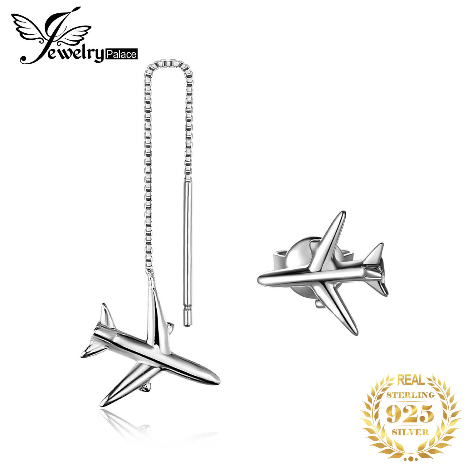 JewelryPalace 925 Sterling Silver Earrings Asymmetric Airplane Thread Earrings Stud Women Girls Anniversary Gifts Friendship