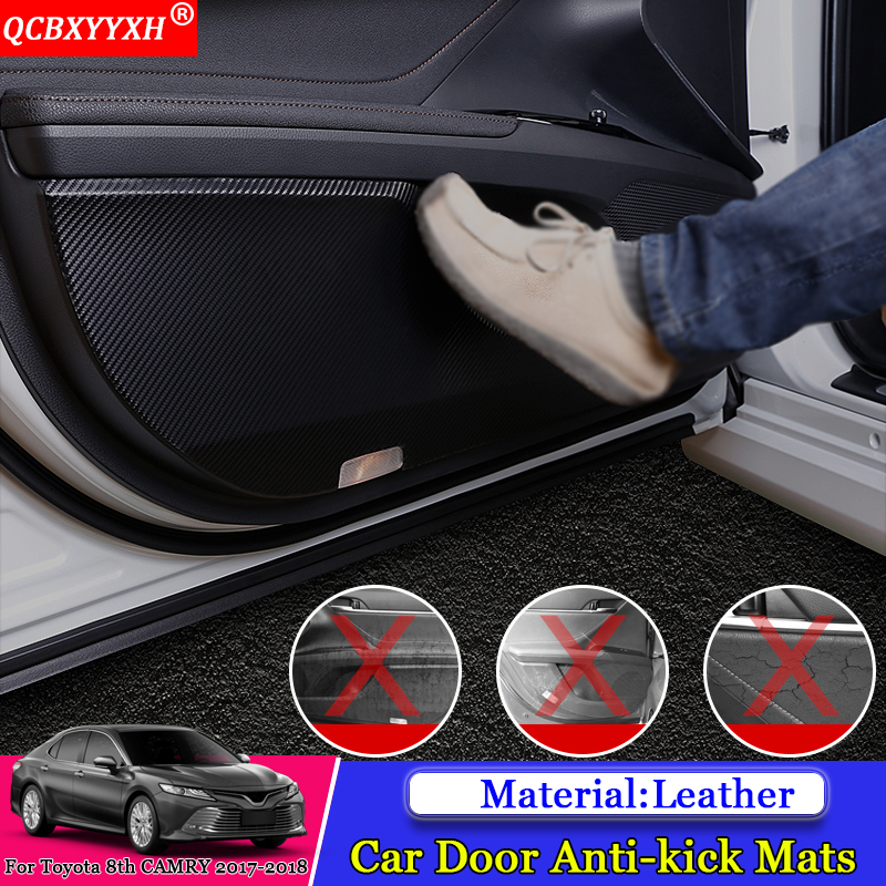 QCBXYYXH Car Styling 4pcs/set Side Edge Anti kick Door Mats Cover Protection Pad Auto Accessories For Toyota 8th Camry 2017 2018