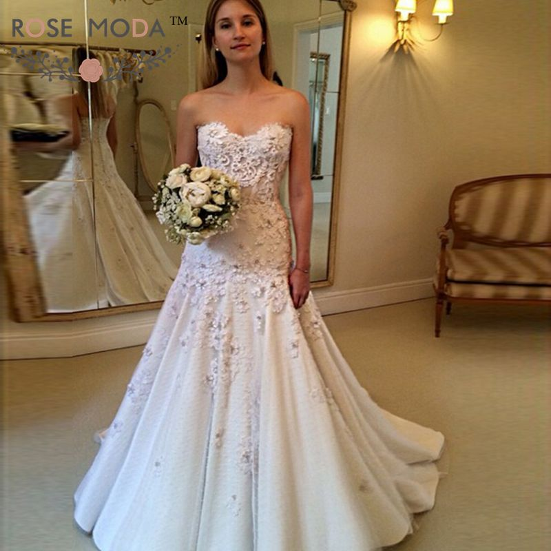 Strapless Corded Lace Trumpet Wedding Dress See Through Lace Corset ...