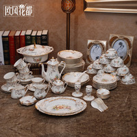 The dishes set ceramics tableware 70 skull bowl disc Chinese Korean wedding gifts household contracted