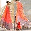 Vestidos das mulheres vestido elegante vestido de praia no verão de grandes dimensões ultra perfeito fadas hang-pescoço sexy maxi chiffon halter vestido longo
