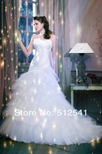 Top Grade Bridal Wedding Dress Trumpet Mermaid Strapless Pleat Organza Applique Sweep Train yk8Y74