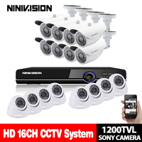 16CH 1080P AHD DVR Recorder 720P 1.0MP 1200tvl Indoor Outdoor CCTV Video Home Security Camera System Surveillance AHD Camera kit