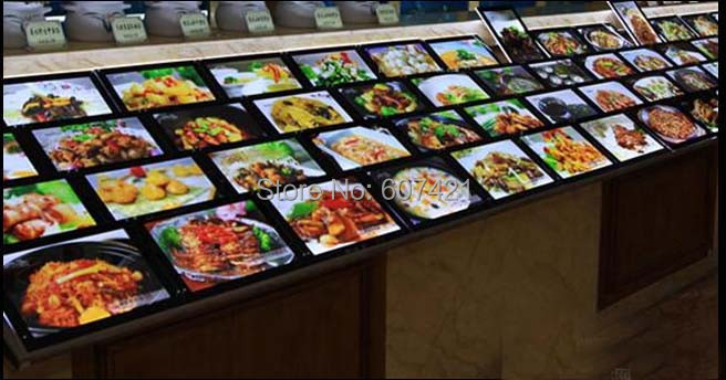 ФОТО (10units/Column) Wall Mounted or Countertop Restaurant LED Menu Board for hotel,restaurant,takeaway or cafe shop