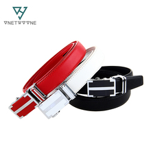 2016 Womens Genuine Leather Belt Business Automatic Buckle 100-120cm Black White Belts For Women 1LW23