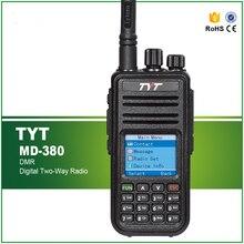 Mais novo dmr transceptor tyt MD 380 uhf rádio 1000 chs 5w potência rf com cabo de programação e software