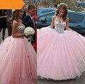 2017 pink sweet 16 vestidos de bola vestidos de novia piso-longitud de la chispa crystal quinceañera vestidos de tul vestidos de 15 anos