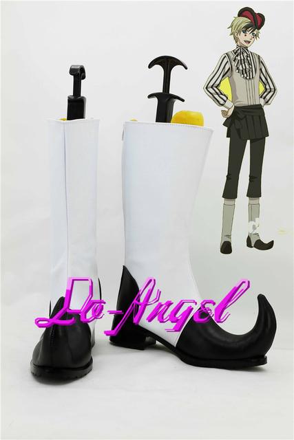 Negro mayordomo Kuroshitsuji Circus daga Cosplay zapatos botas de lujo del tamaño modificado para requisitos particulares
