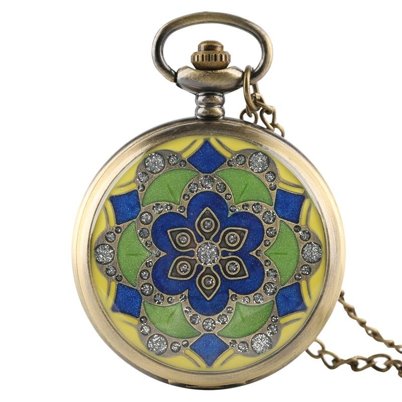 4e89c8d0d466 Moda Verde Jade bronce antiguo bolsillo relojes para las mujeres Lady Girl  amigo Madre Regalos collar reloj Colgante con cadena