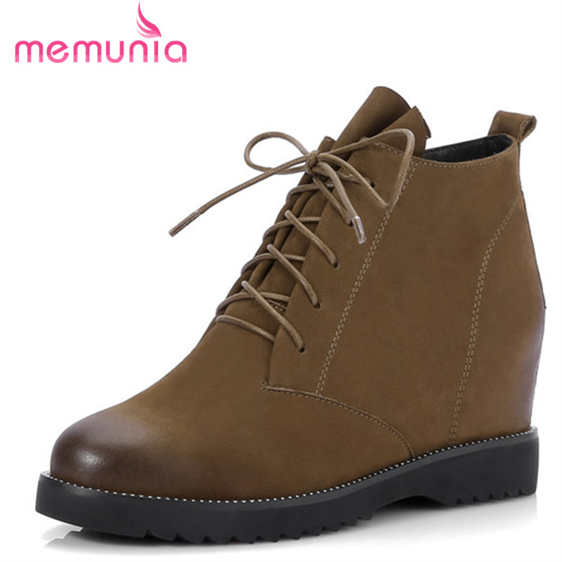 MEMUNIA 2018 new ankle boots genuine leather boots high quality fashion high heels round toe boots classic leisure womens shoesMEMUNIA 2018 new ankle boots genuine leather boots high quality fashion high heels round toe boots classic leisure womens shoes