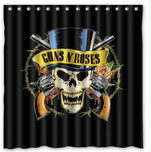 Guns N Roses Revolvers Skull Cylinder Fabric Shower Curtain 180x180cm Waterproof Mildewproof Curtains