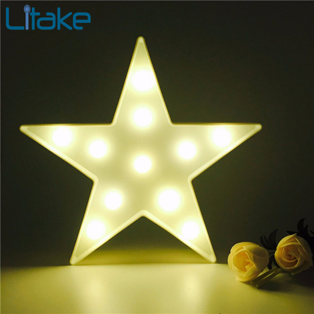 Litake Led Star Shaped Light Plastic Marquee Decorative Letter Sign Lamp Up Nightlight Valentine S Gift
