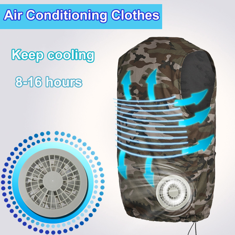 Factory Fan Cooling Suit Vest High Temperature Protective Clothing Heatstroke Cooling Vest Air Conditioning Short-sleeved Overal