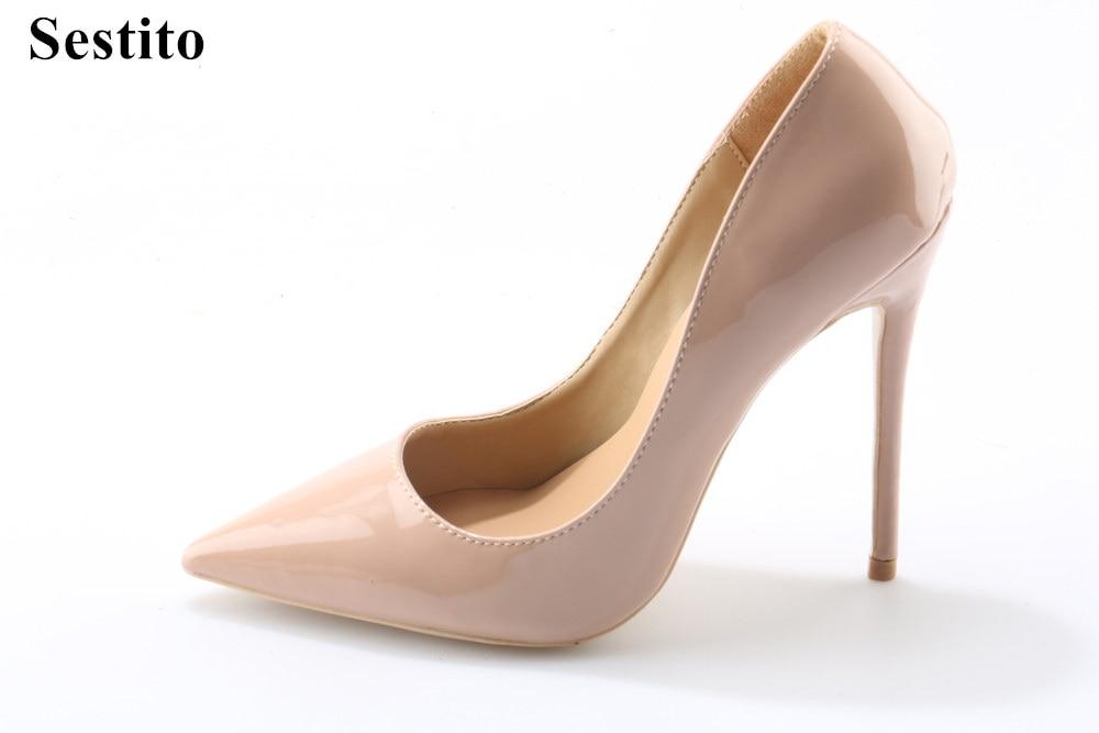 Sestito Ladies Patent Leather Dress Wedding Shoes Woman Slip-on Pointed Toe Pumps Girls Nude/Black Formal High Heels Wholesale телевизор samsung ue65nu7300 65 дюймов smart tv uhd изогнутый