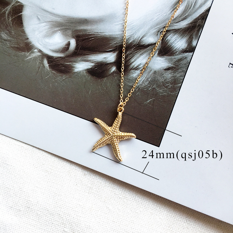 19 New Fashion Gold Color Alloy Cowrie Shell Necklace for Women Conch Chain Pendant Necklace Summer Jewelry Starfish Collar 6