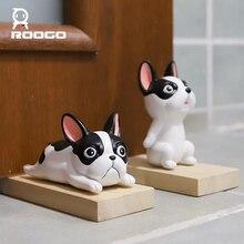 цена на Roogo Dog Animal Door Stops Wedge Door Stopper Creative Block For Home Office Room Security Door Cute Miniature Figurines