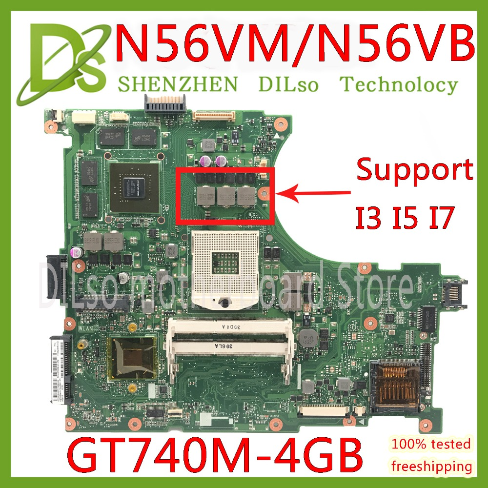 KEFU N56VM motherboard For ASUS N56VM N56VJ N56VZ N56VB Laptop motherboard N56VM GT740 4G mainboard Test motherboard цены