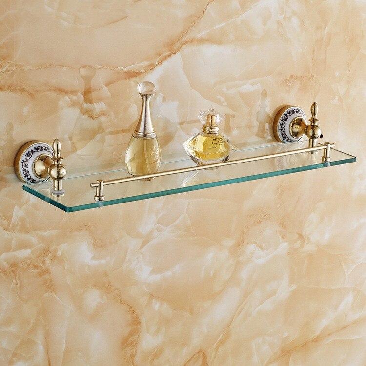 Brass Blue and White Porcelain Golden Bathroom Shelf Single Tier ...