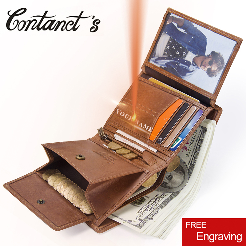Contact's Man Wallet Genuine Leather Trifold Men Wallets Zipper Coin Purse Short Design Multifunction Money Bag With Card Holder slymaoyi classical men wallets genuine leather short wallet fashion zipper brand purse card holder wallet man with coin bag page 1