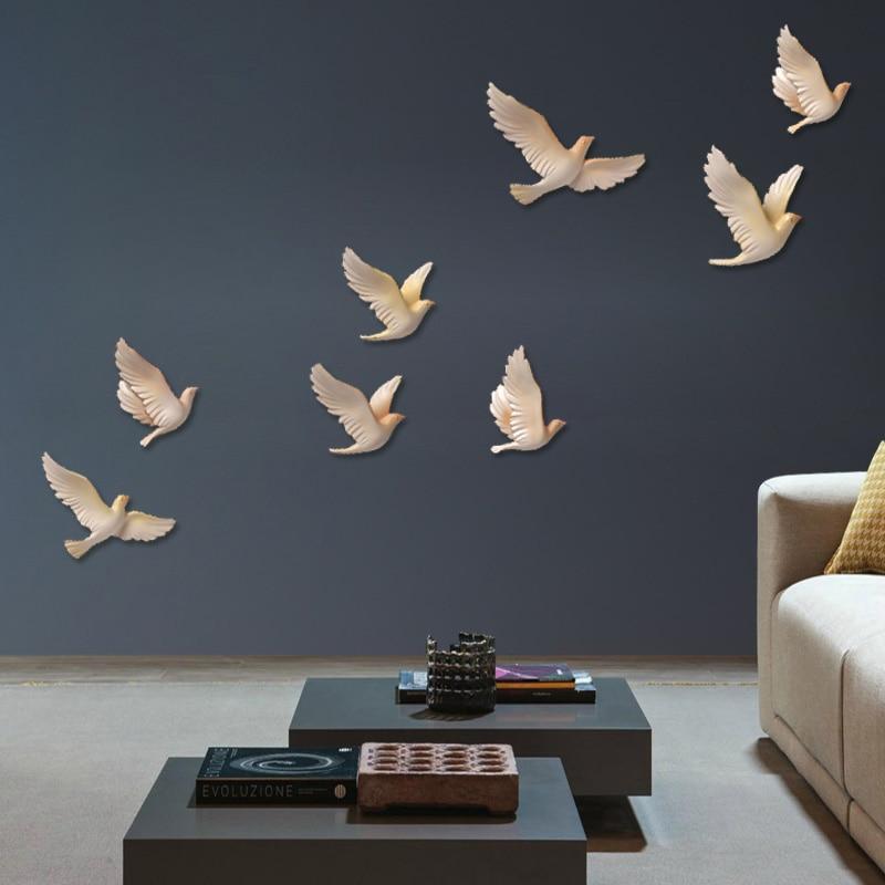 Украшения для стен в скандинавском стиле, креативные фрески в виде птицы из смолы для гостиной, миниатюрная фигурка животного, 3D наклейка, ф...