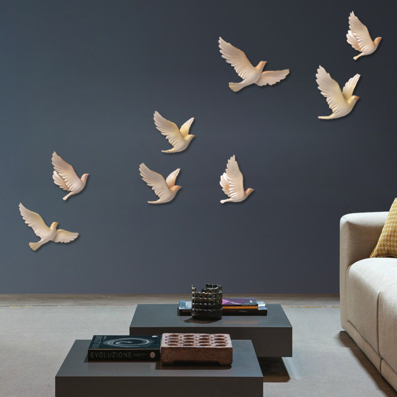 Décorations murales nordiques salon résine oiseau peintures murales créatives animal miniature figure 3D autocollant fond TV dans ornement mural