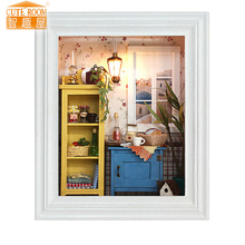 Furniture DIY Doll House Wodden Miniatura Doll Houses Furniture Kit Photo Frame Assemble Dollhouse Toys For Children gift W001