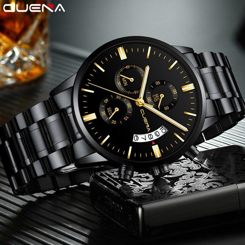 CUENA 6801 Relogio Masculino Fashion Brand Waterproof Watch Men Clock Chronograph Men Watches Stainless Steel Quartz Wrist Watch