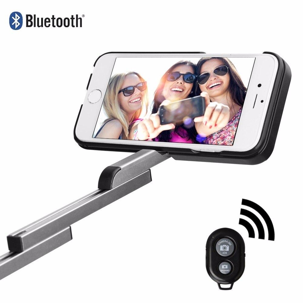 Цена за Роскошные 3 в 1 Bluetooth Селфи Телефон Случае Выдвижной Селфи Палки для iPhone6/6 s iphone7/Плюс с держатель телефона чехол сумка Стенд