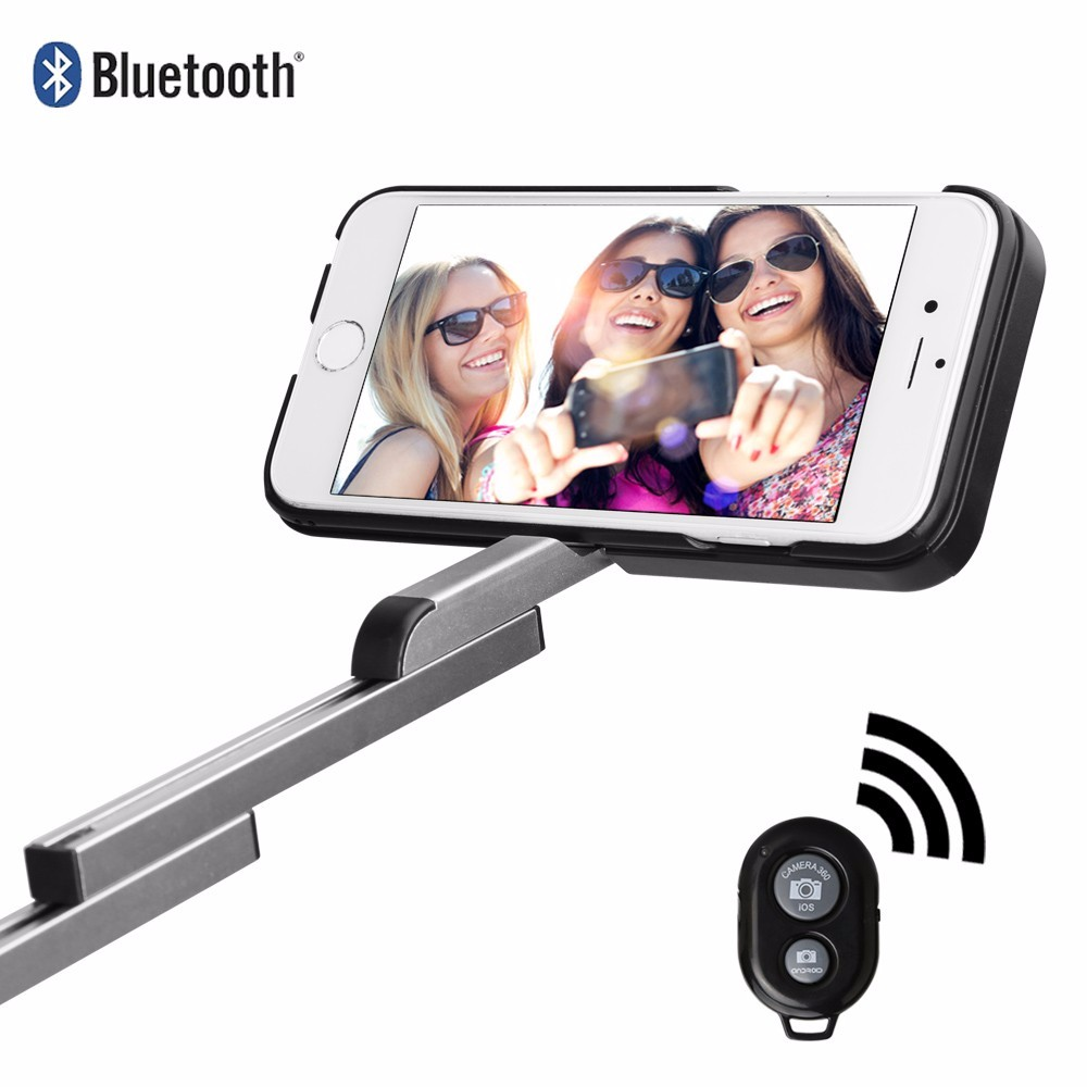 bilder für Luxus 3 in 1 Bluetooth Selfie Telefon Fall Versenkbare Selfie Stick für iPhone6/6 s iphone7/Plus mit halter bag Stehen