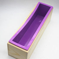 Rectangular Silicone Soap Mold 24 6 6 7CM With Wooden Mold 25 5 6 3 7