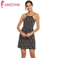 ANGVNS 2018 Spring Summer Women Strap Floral Mini A Line Dress Casual Party With Belt Vestido