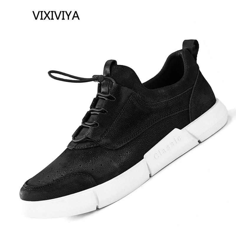 Fashion mænds sko læder ægte sorte mænd 2018 nyt forår og sommer - Mænds sko