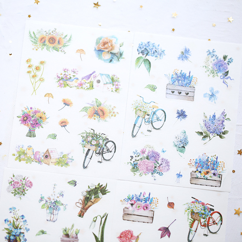 4 Sheets/pack Succulent Ocean Decorative Stickers Scrapbooking Stick Label Album Diary Adhesive Diy Sticker Stationery Kids Gift