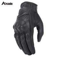 Arcade Retro Pursuit Real Leather Motorcycle Gloves Touch Screen Men Women Motocross Waterproof Electric Bike Gloves