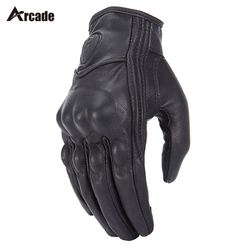 Arcade Retro Pursuit Real Leather Motorcycle Gloves Touch Screen Men Women Motocross Waterproof Electric Bike Gloves Moto Glove