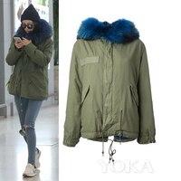 2016 new winter army green jacket women with fur hoody natural raccoon fur trim collar sleeve warm big size long coat cloth