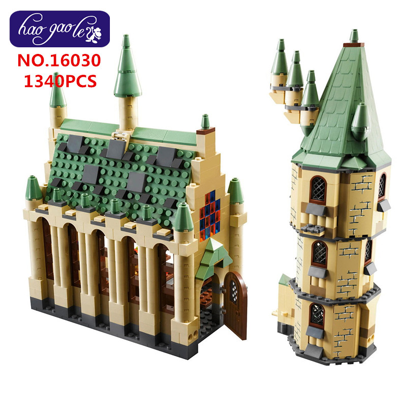 16030 Building Blocks Bricks Movie Series The Hogwarts Castle Set 1340pcs Compatible 4842 Educational baby Toys Model As Gift hc9009 1650pcs pikachu cartoon movie series without original box building blocks diamond bricks toys compatible with loz