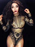 Sexy Women Sparkly Black Gold Rhinestones Baroque Bodysuit Ladies Long Sleeve Nightclub Dance Stage Show Playsuit
