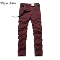 Vogue Anmi.Men Workout Style Multi Pocket Cargo Pants Casual Cotton Loose Long Straight Trousers Plus Size 36 38 40