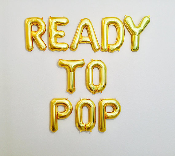 Baby Shower Letter Balloons.Us 12 67 25 Off Gold Or Silver Ready To Pop Baby Shower Letter Balloons Pregnancy Photo Backdrops Party Decorations In Party Diy Decorations From