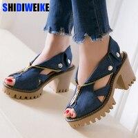Women denim sandals 2019 platform sandals women high heel sandals zipper summer shoes big size 34 43 sandalias mujer n747