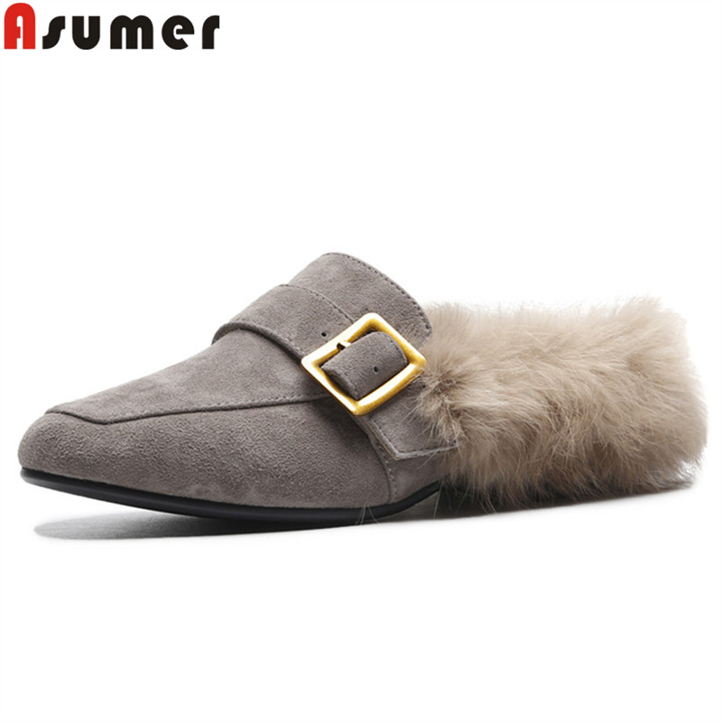 ASUMER 2018 fashion autumn shoes woman square toe shallow mules casual ladies shoes comfortable suede leather shoes women flats asumer white spring autumn women shoes round toe ladies genuine leather flats shoes casual sneakers single shoes