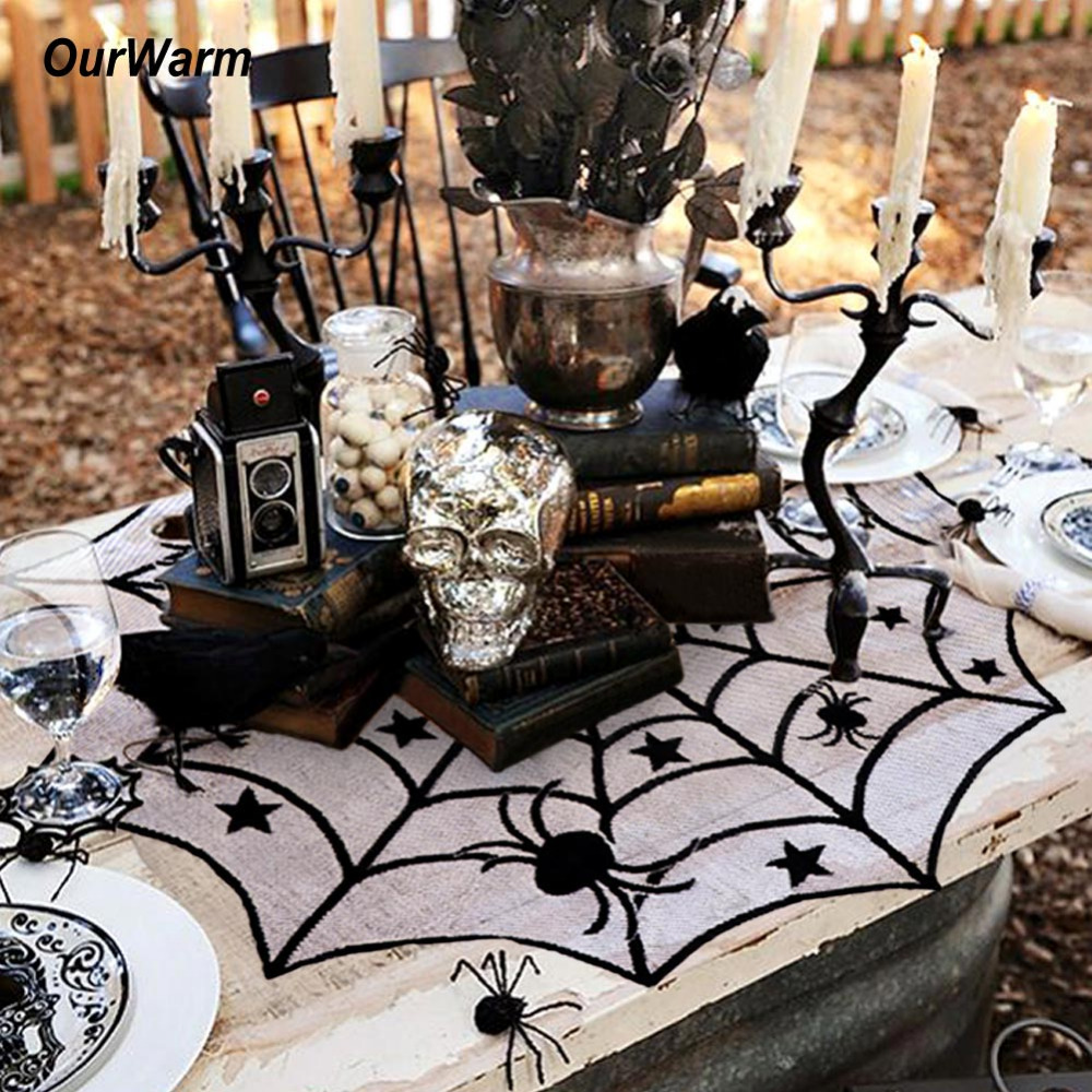 Ourwarm 40inch Round Halloween Tablecloth Black <font><b>Spider</b></font> <font><b>Web</b></font> Lace Mantle for Halloween Party Decoraiton Background Decoration